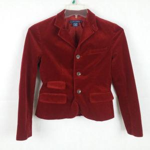 Ralph Lauren Red Corduroy Blazer 3 Button Size 4